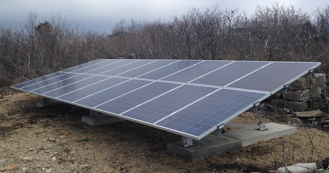 A solar array on Appledore Island