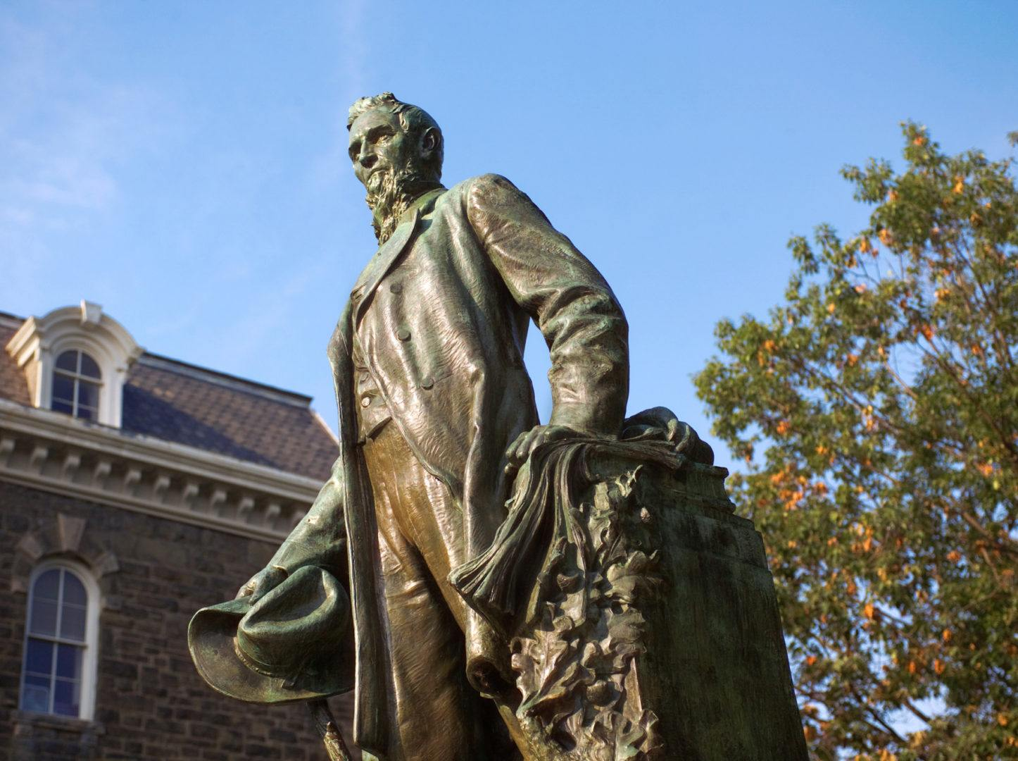 The statue of Ezra Cornell on the Arts Quad.