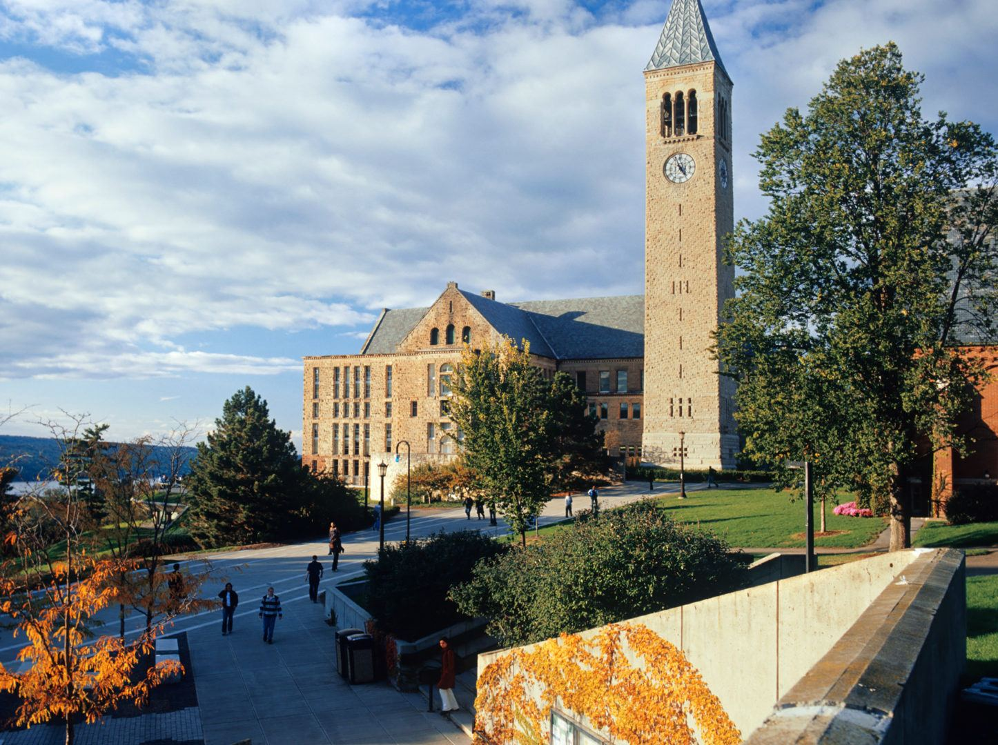 McGraw Tower, Uris Library, and Ho Plaza.