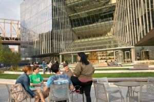 Cornell Tech students connect on campus.