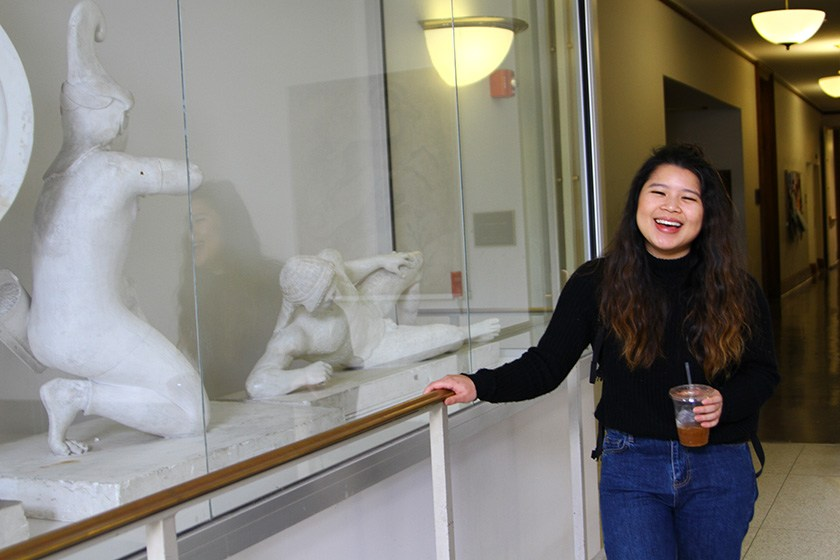 Kylie Long '19 outside the classics department in Goldwin Smith Hall.