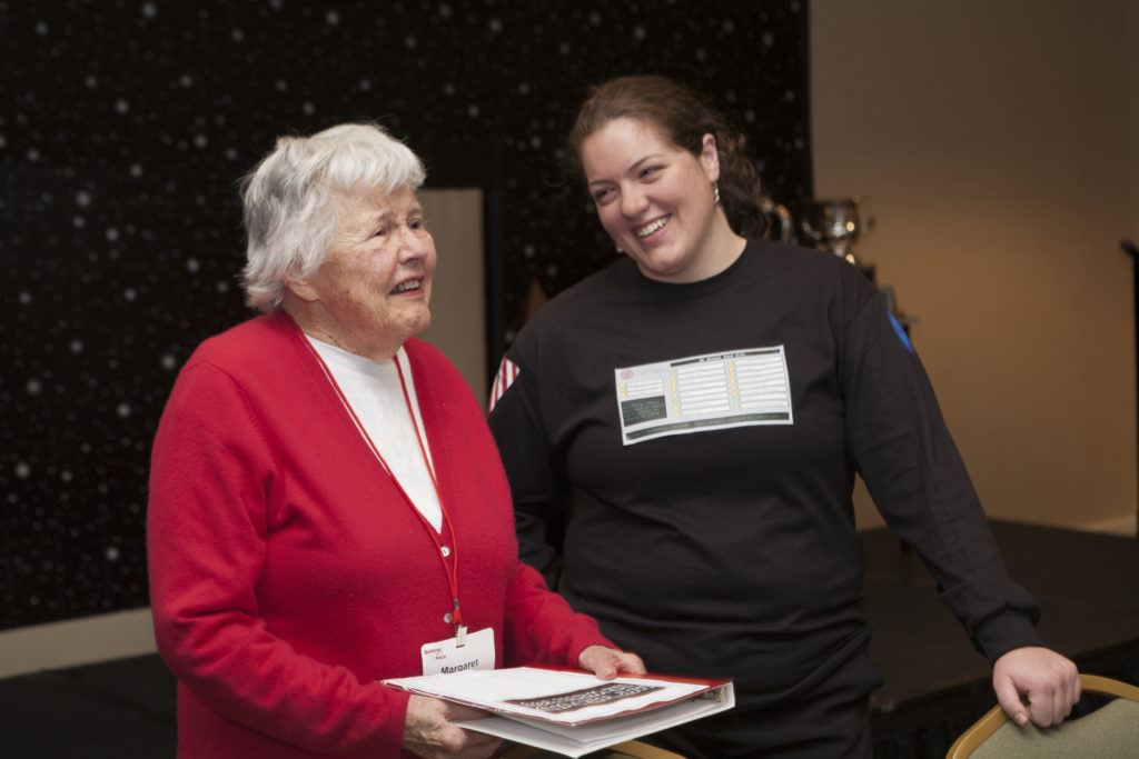 Margaret Mitchell '47 with staff member Margaret Sheehe '08 in 2009.