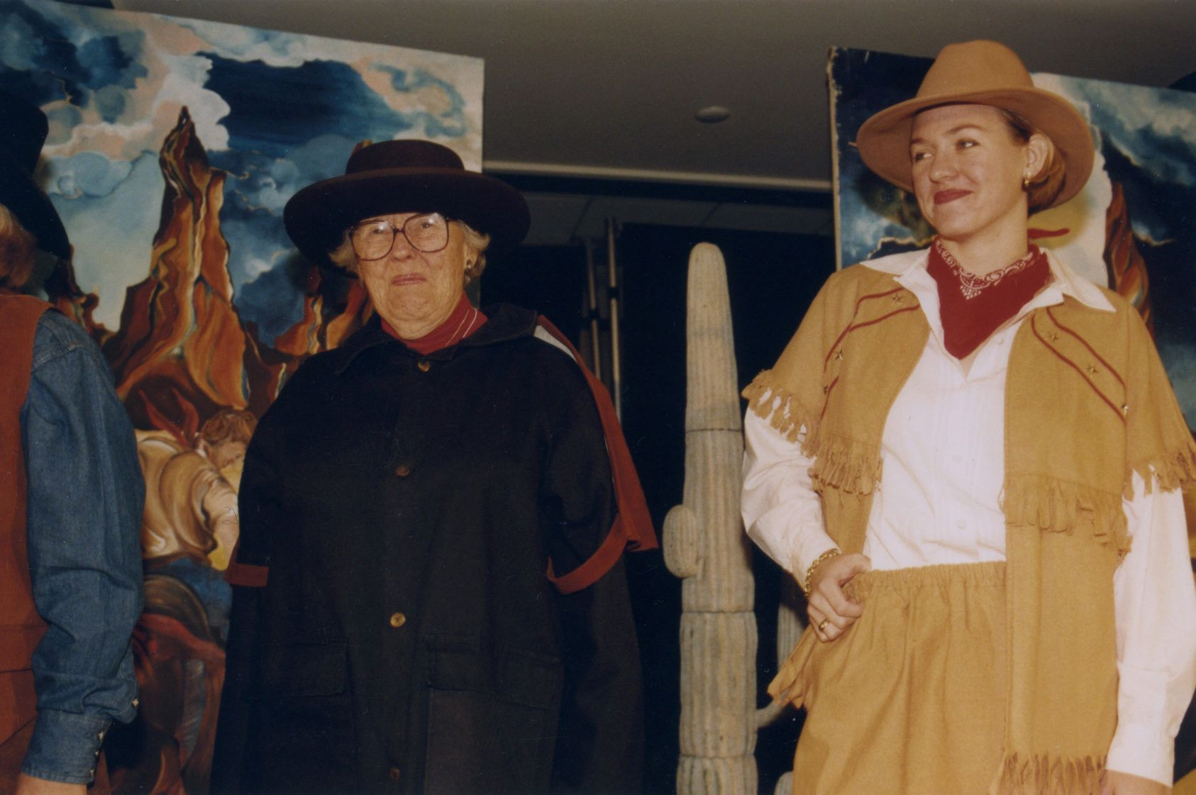 Margaret Mitchell '47 in a Western-themed skit. Also pictured: Cecily Tatibouet Nisbet '95