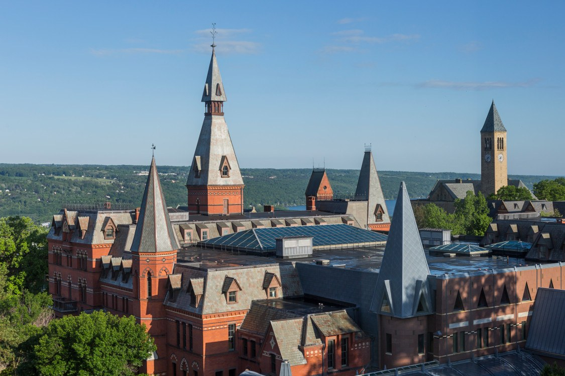 Aerial view of Cornell buildings and beyond
