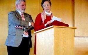 Elisabeth Boas and Art Spitzer, both Class of '71, speak at the dedication.