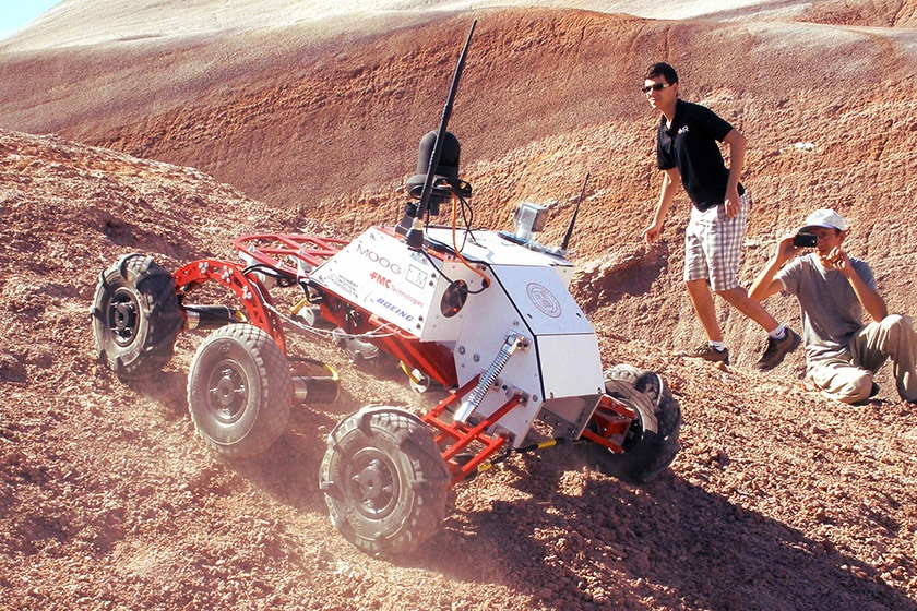Cornell's Mars Rover project team in action at the annual University Rover Challenge in Utah.