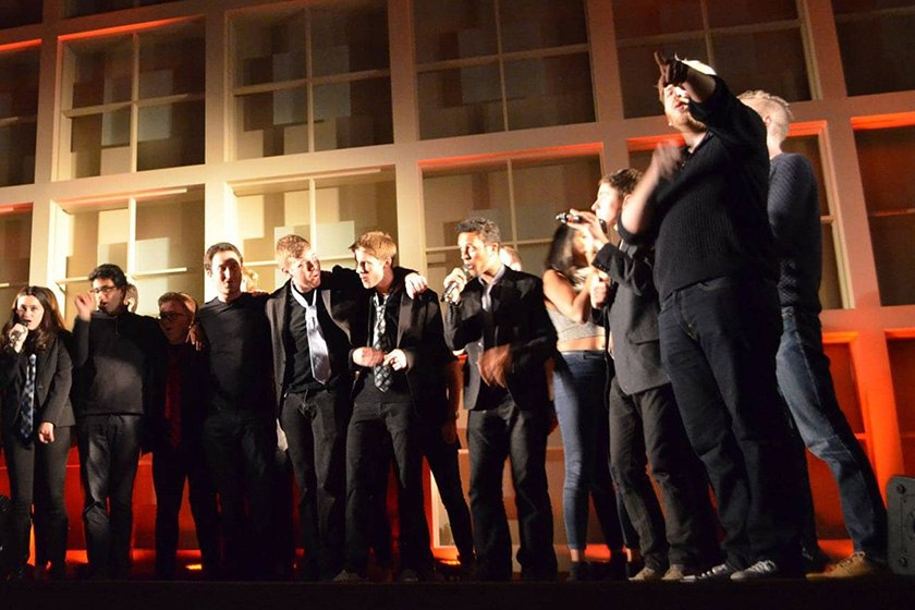 The Key Elements, Cornell's only co-ed rock a cappella group, performs in Alice Statler Auditorium.
