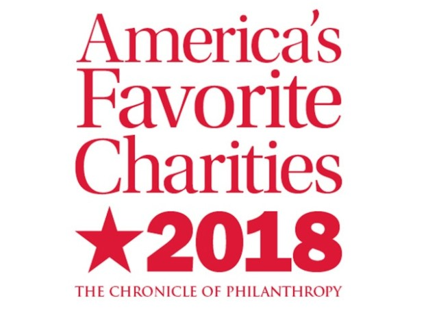 Graphic saying: America's Favorite Charities 2018: The Chronicle of Philanthropy
