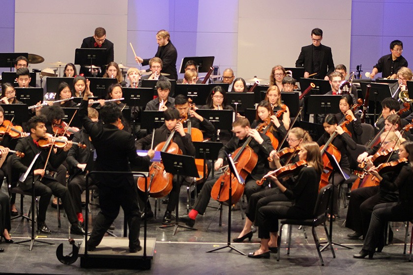Cornell Orchestras performing on stage