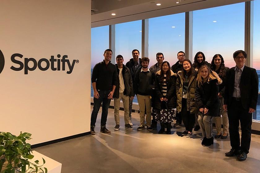 Several student members of the Cornell Media Guild visit Jordan Gremli '08, Head of Artist and Fan Development at Spotify.
