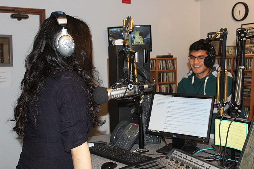 Veronica Perez '19, a WVBR DJ, and station general manager TJ Hurd '19 in the studio.