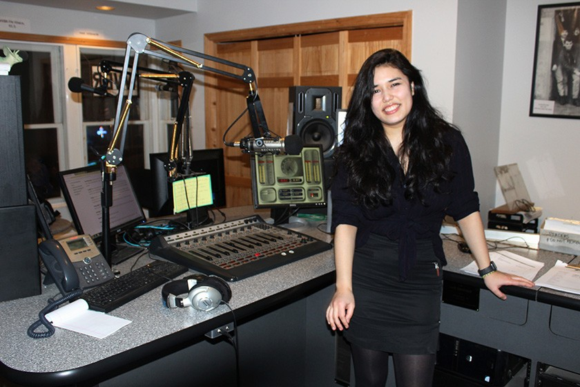 Veronica Perez '19, a WVBR DJ, in the Collegetown studio.
