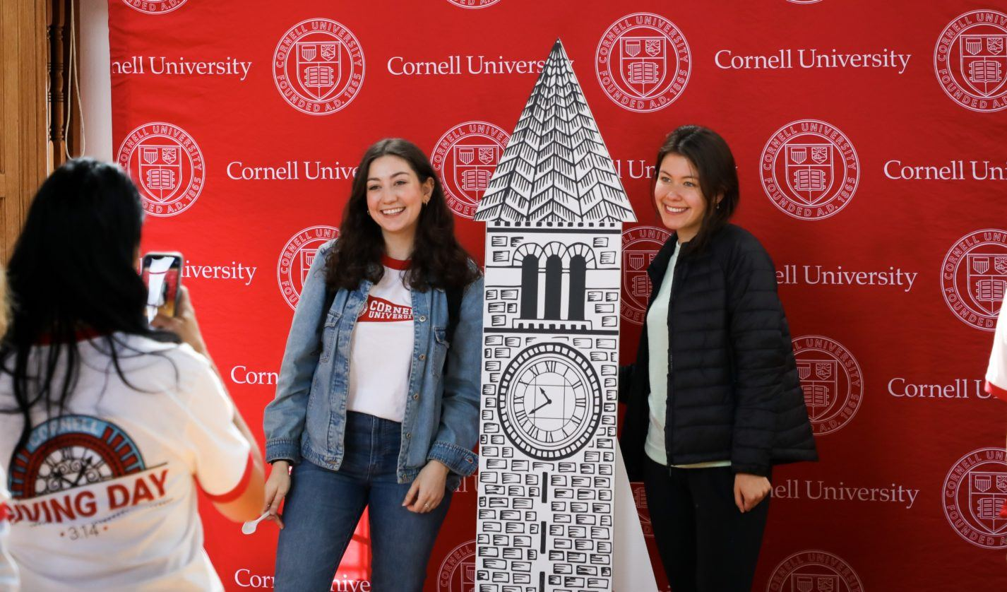 students at the selfie station at Giving Day 2019