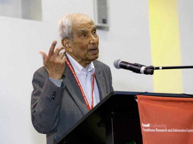 Professor Emeritus Narahari Uma Prabhu speaking at the 2016 Operations Research and Information Engineering (ORIE) 50th Anniversary Celebration Gala Dinner. Credit: David Burbank/University Relations
