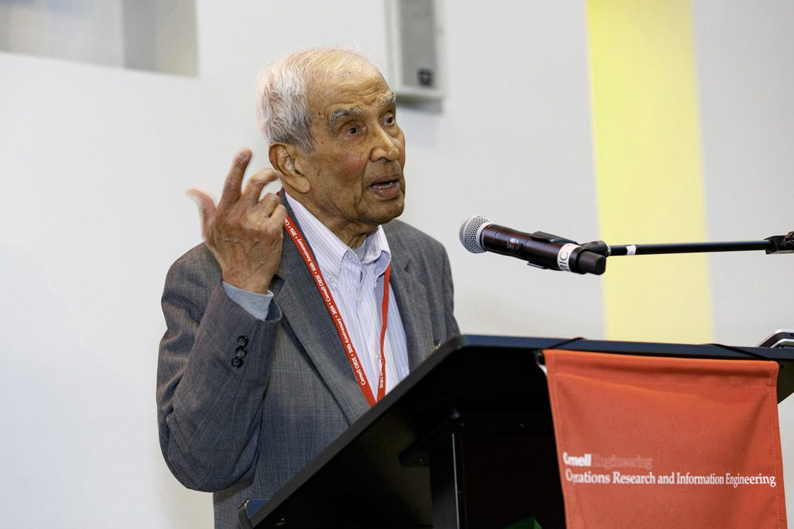 Professor Emeritus Narahari Uma Prabhu speaking at the 2016 Operations Research and Information Engineering (ORIE) 50th Anniversary Celebration Gala Dinner. Credit: David Burbank/University Relations