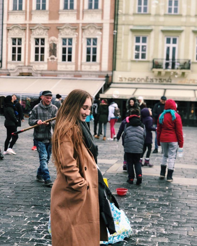 Boucher explores Old Town Square during her semester studying abroad in Prague, Czech Republic.