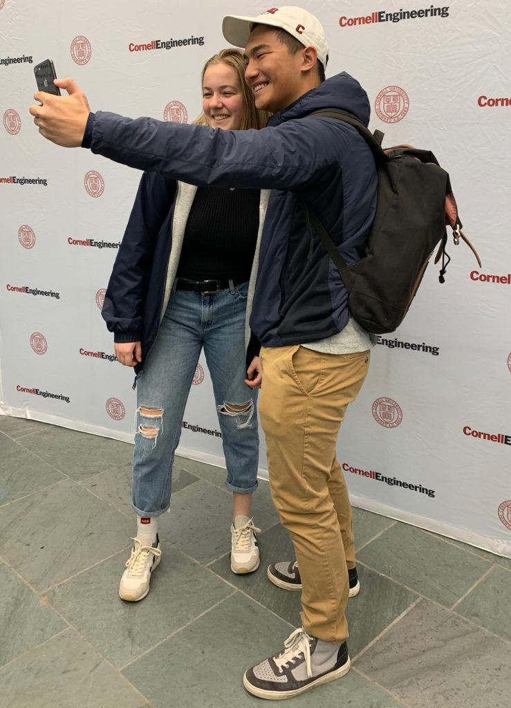 Students in the College of Engineering were invited to take a selfie at the Giving Day table in Duffield Hall.