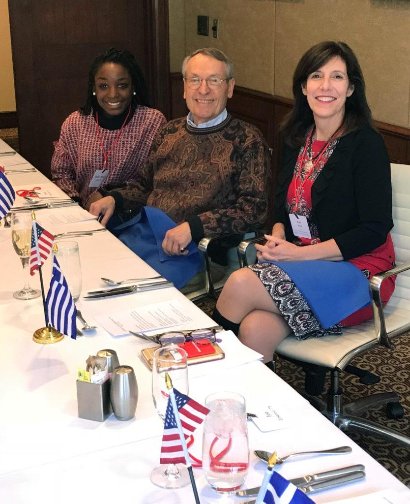 Costa E. Androulakis, Class of 1970 (center) with Kate Walsh MPS, Class of 1990, dean of the School of Hotel Administration (right), and scholarship recipient Jhoelle Coffy, Class of 2018 (left) at the 2018 Hotel Ezra Cornell.