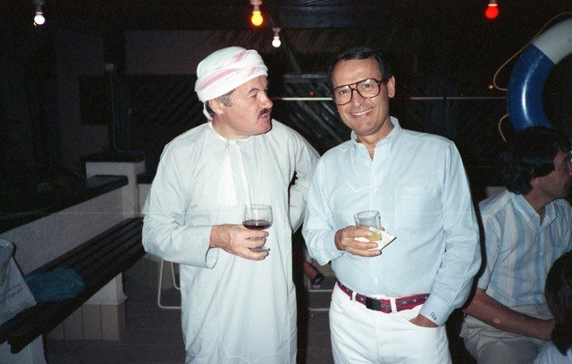 Androulakis with his friend Gunter in Jedda, Saudi Arabia, where he worked as General Manager of the Jedda Marriott Hotel from 1988 to 1990.