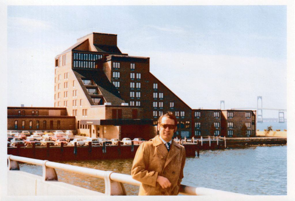 Androulakis in front of the Hilton Inn, in Newport, Rhode Island, where he worked after graduating from Cornell.