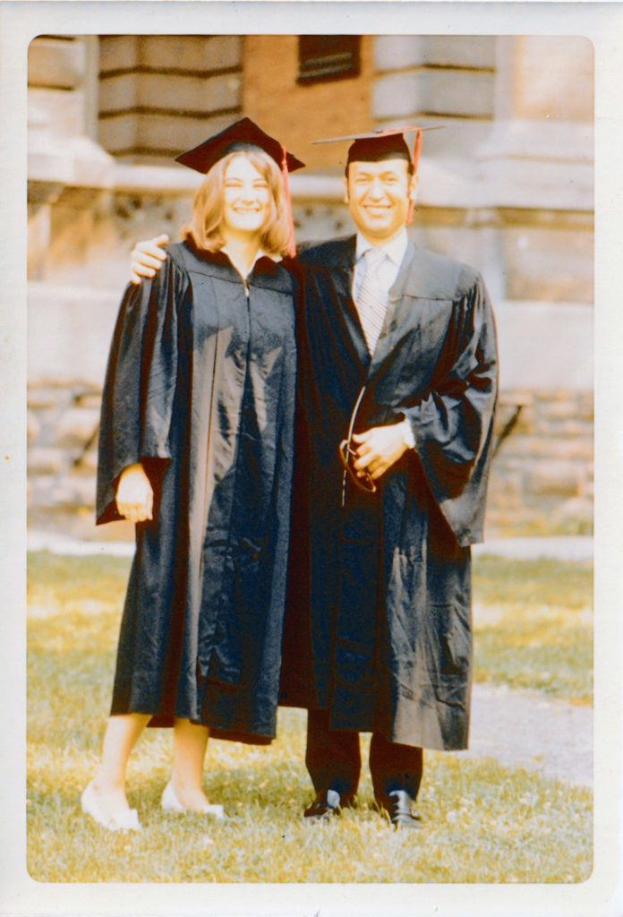 Androulakis and a classmate at graduation.