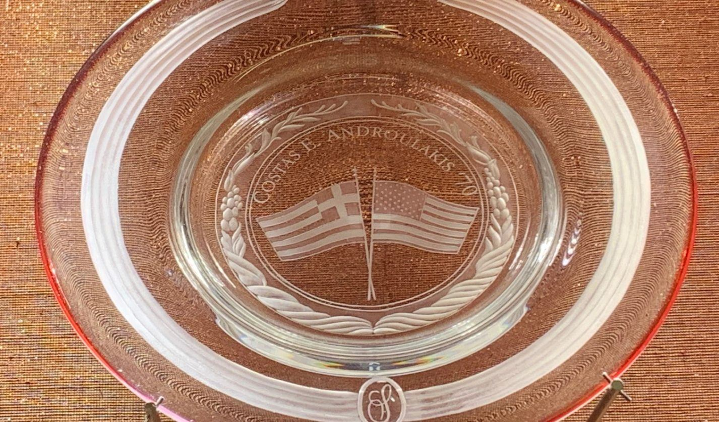 In 2018, Costa E. Androulakis, Class of 1970, was honored for his generosity to his Cornell. He was invited to design this Steuben crystal plate for display on the Leadership Circle Wall of Honor at the School of Hotel Administration.