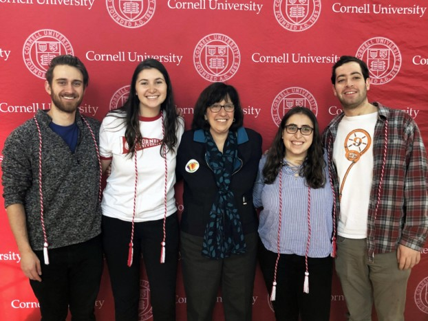 Cornell University President Martha Pollack (center) joins Senior Class Campaign executive board members (from left to right) Sam Markiewitz, Caitlin Sweeney, Molly Pushner, and Will Gusick at the 2019 Giving Day event in Willard Straight Hall.