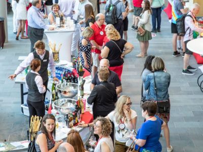 View of people at reception.