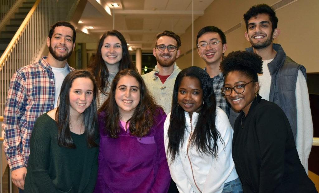 SCC executive board members: (top row, left to right) Will Gusick, Caitlin Sweeney, Sam Markiewitz, Dustin Liu, Sameer Nanda; (bottom row, left to right) Allison Wild, Molly Pushner, Kathie Duperval, Alyssa Watson
