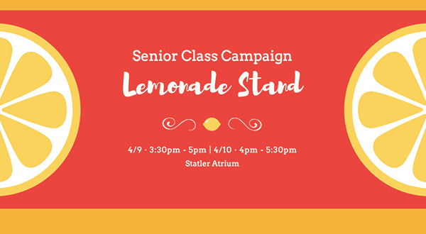 Graphic for email blast inviting seniors to the SCC lemonade stand event.