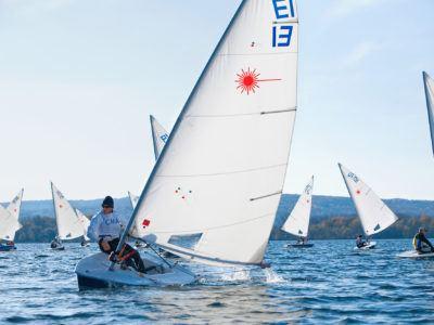 People sailing on Cayuga Lake.