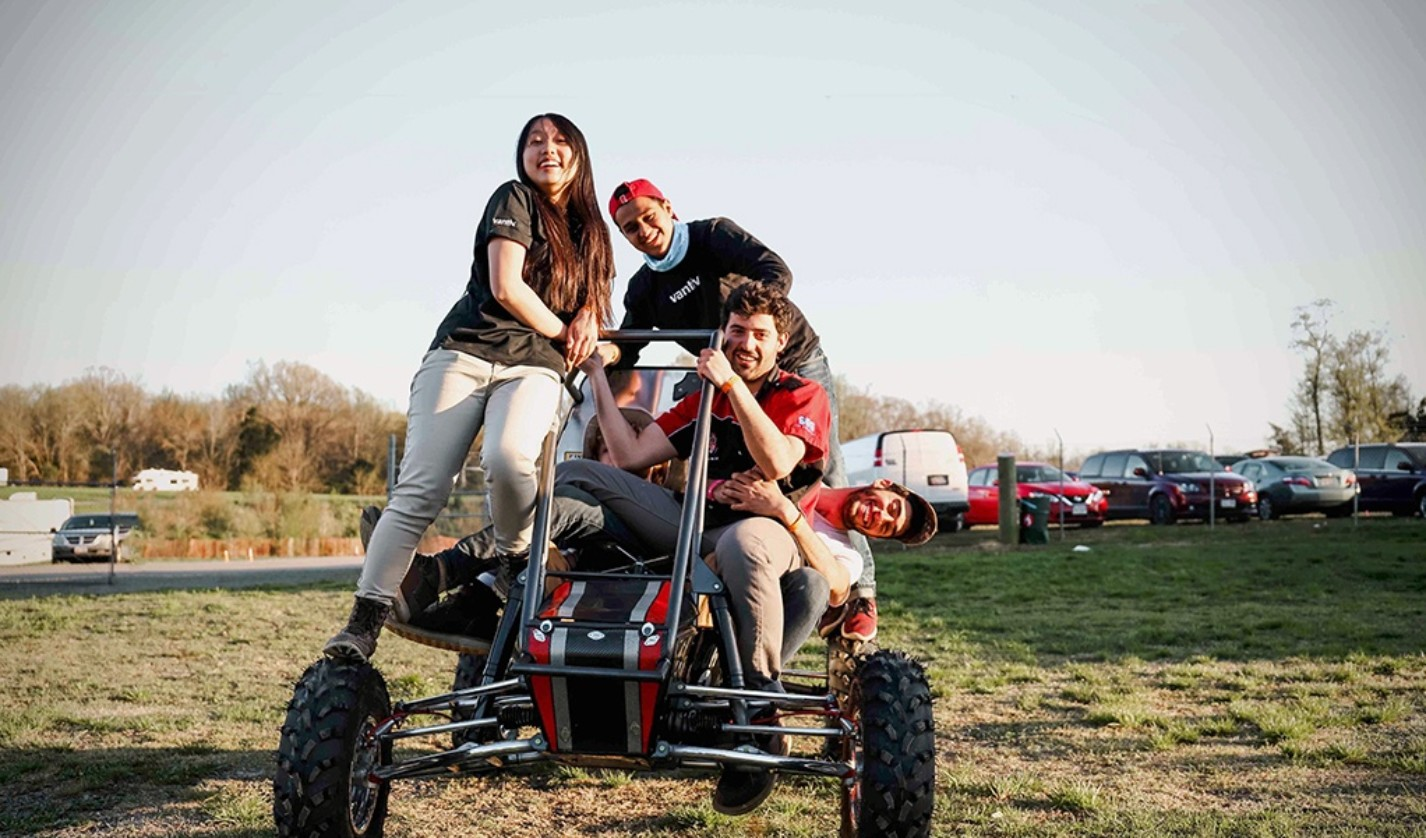 Members of Cornell's 2018–2019 Baja Racing Team. Students must design and build an off-road vehicle that can perform in the most rugged conditions.