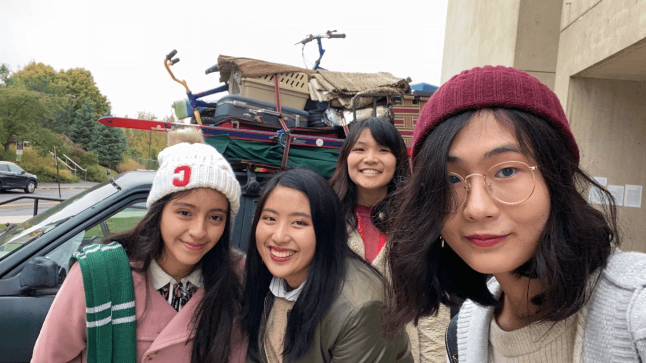 (L to R) Alejandra Gonzalez, Mina Prapakamol, Doanh Tran, Linda Huang, all Class of 2023, outside the Johnson Museum.