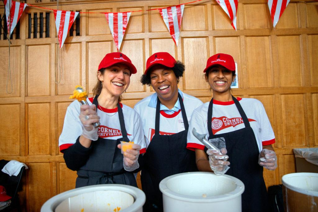 Staff ice cream scoopers on Giving Day 2019.