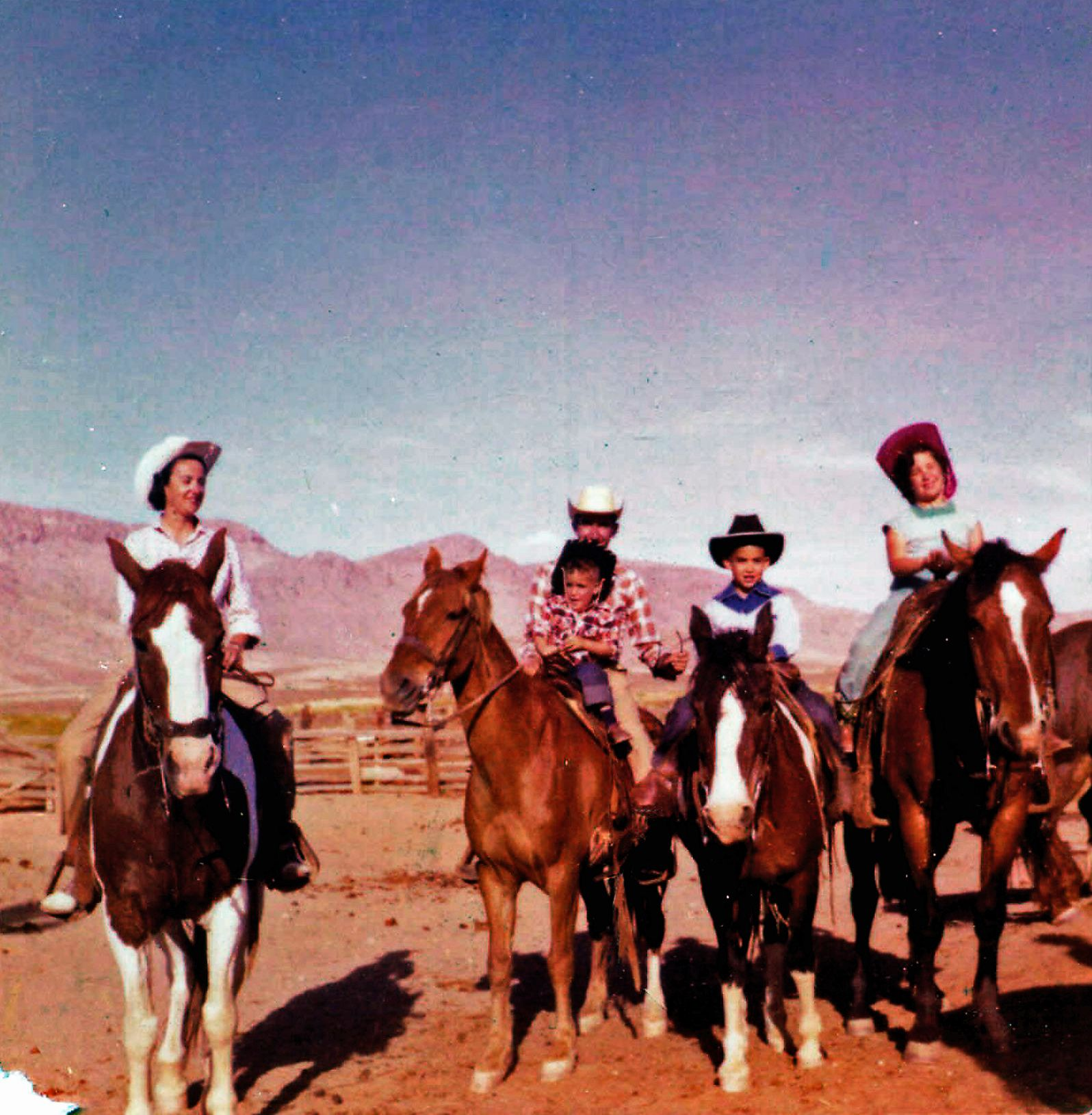 David Strip (center with a blue bandanna) with (left to right) his mother, father, brother Michael, and sister Lynn in 1957, on a family vacation to a dude ranch in Demming, New Mexico.