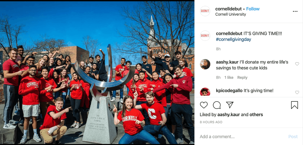 Cornell DEBUT brought in an additional $1,500 for Engineering