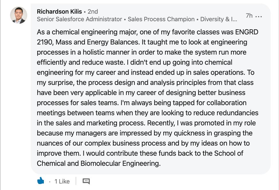 Richardson Kilis '09 won an extra $1,500 for Engineering