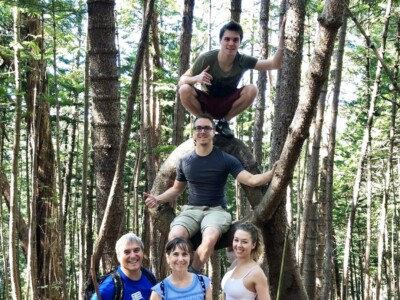 Hiking 'Aiea Loop Trail in Hawai'i with his brother, his brother's wife, and his parents.