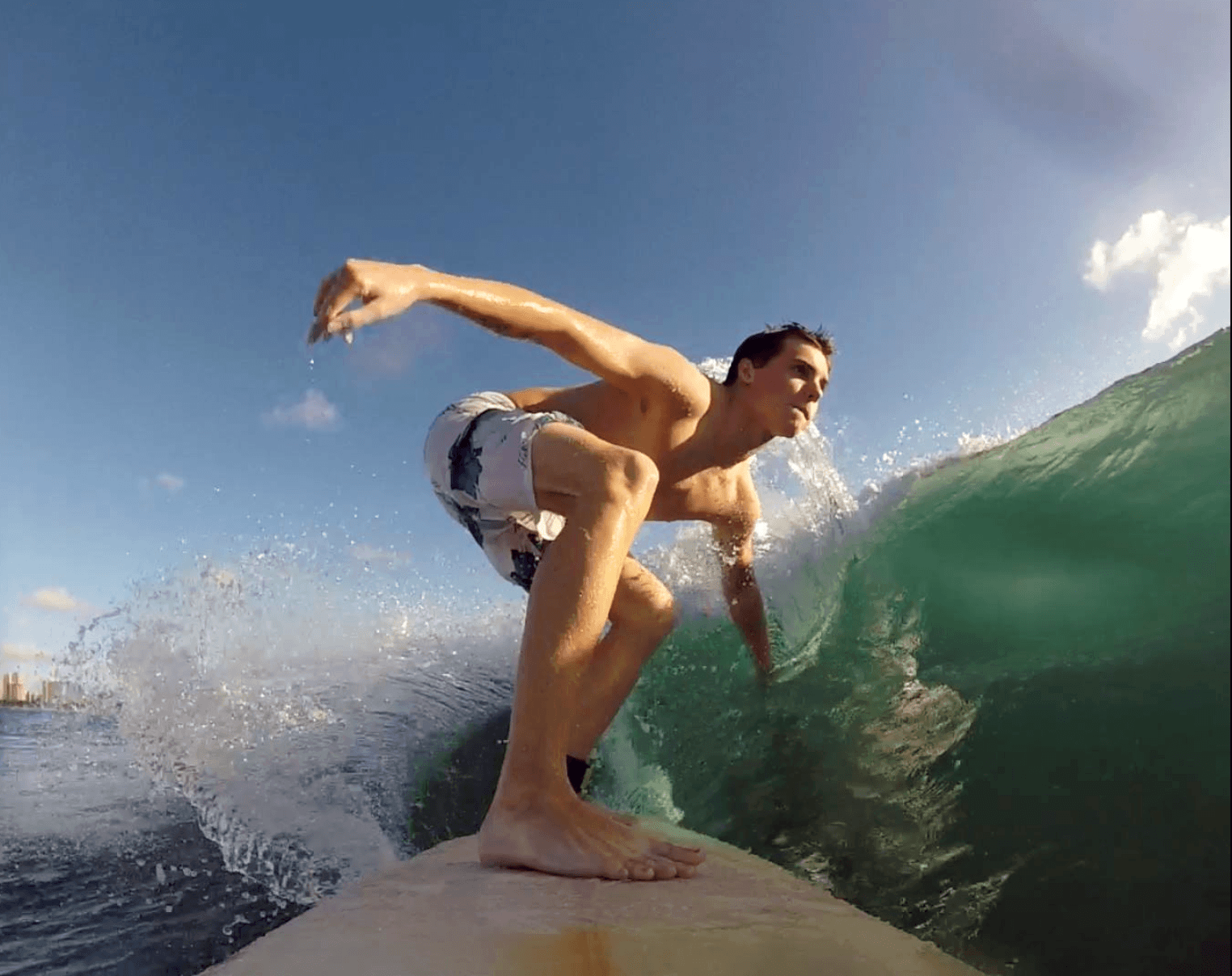 Ben Steeper surfs at his favorite break (Kewalo's) on the south shore of O'ahu.