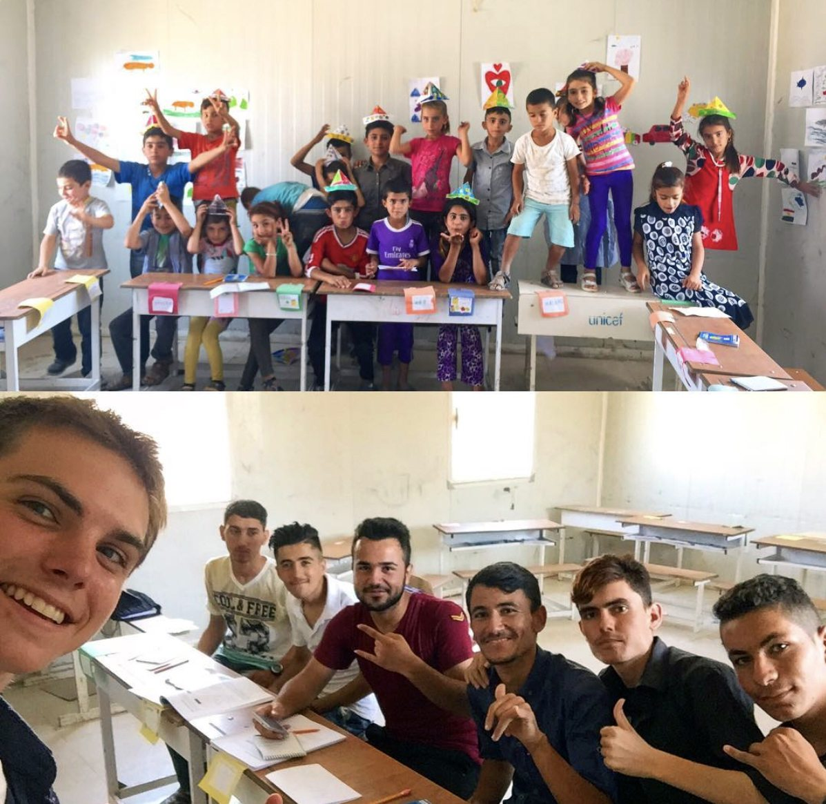 Teaching English to Kurdish refugees in Iraq during the summer before his junior year.