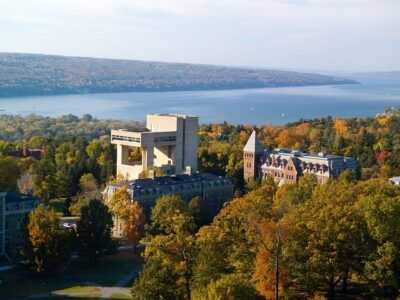 Herbert F. Johnson Museum of Art with Cayuga Lake in the background.