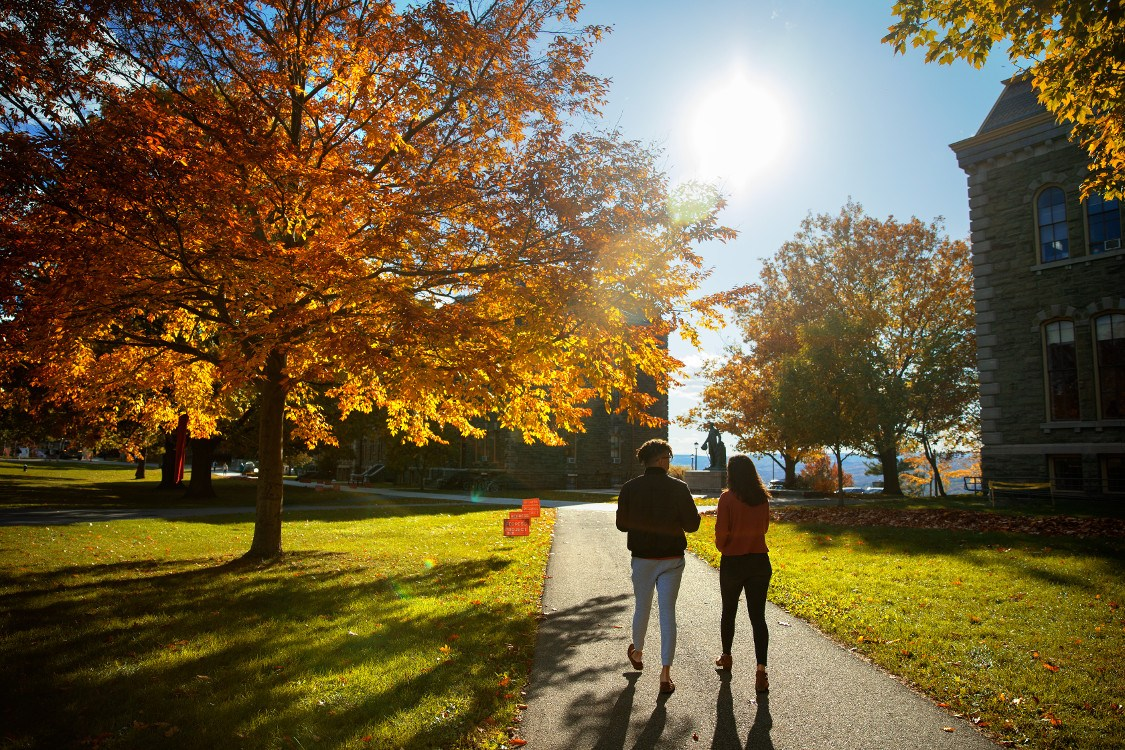 Students walking on campus in fall 2019