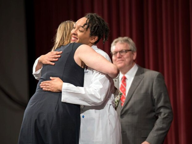 Gillian Lawrence DVM '19 at the 2019 White Coat ceremony.