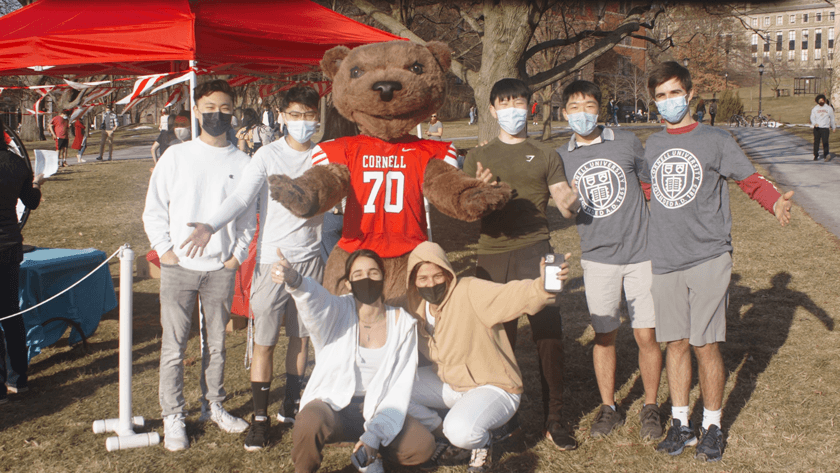 students wearing masks with Touchdown