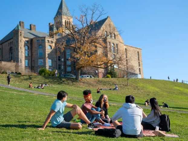 Students study and socialize on Libe Slope