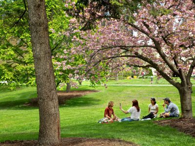 Students enjoy a warm afternoon on the lawn near Sage Hall.