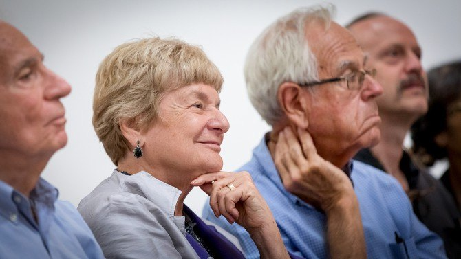 Judith Stoikov and her husband, Richard Miller, at the Johnson Museum in 2018.