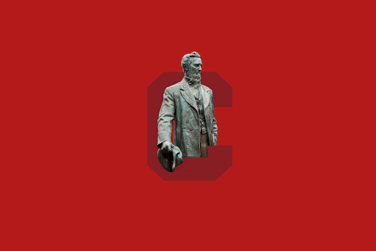 Ezra Cornell statue and the Cornell C